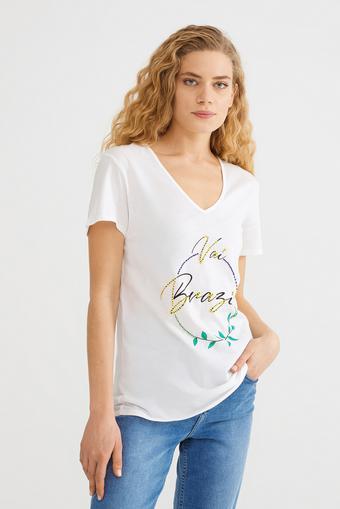 Bej Boncuk İşlemeli Tişört