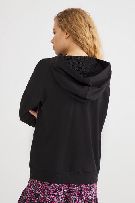 Siyah Fileli Sweatshirt