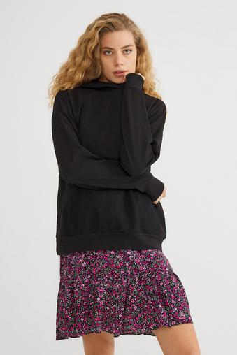 Siyah Fileli Sweatshirt