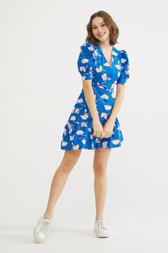 Mavi Kruvaze Elbise