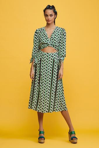 Yeşil Truvakar Kol Elbise