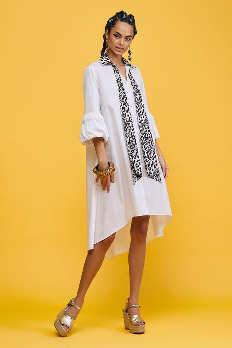 Beyaz Garni Detaylı Elbise