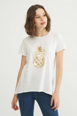 Önü Pul Payetli Tişört
