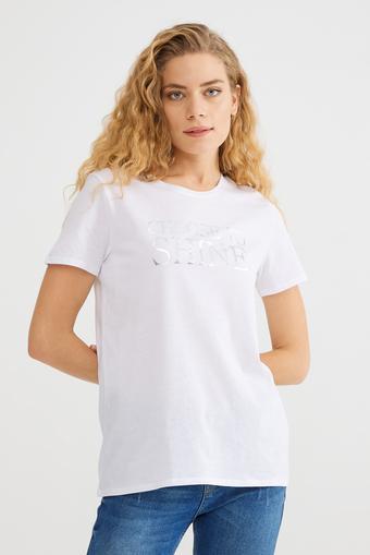 Bej Baskılı Tişört