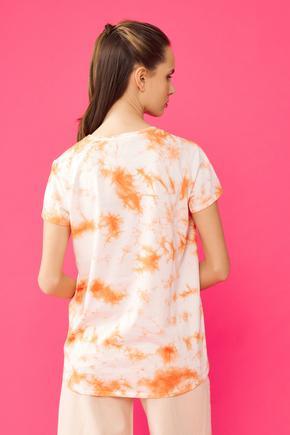 Turuncu O Yaka Batik Tişört