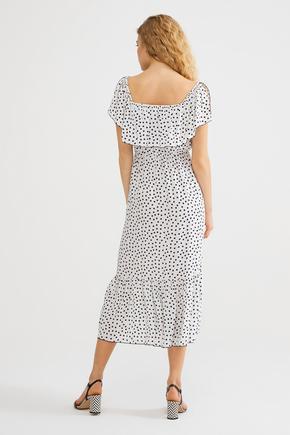 Bej Yakası Lastikli Elbise