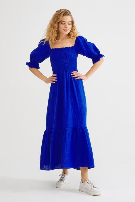 Mavi Lastikli Elbise