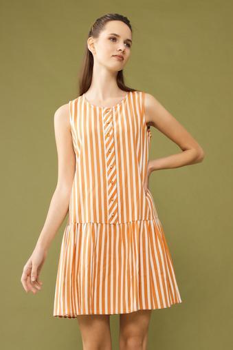 Turuncu Kolsuz Çizgili Elbise