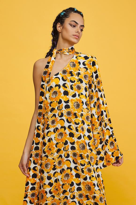 Sarı Tek Kol Elbise