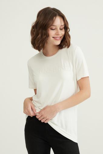Bej Baskılı T-Shirt