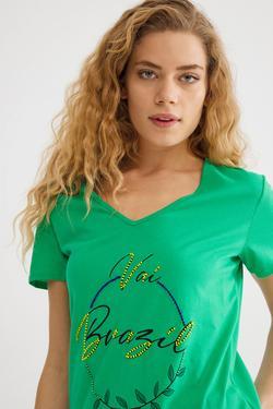 Boncuk İşlemeli Tişört