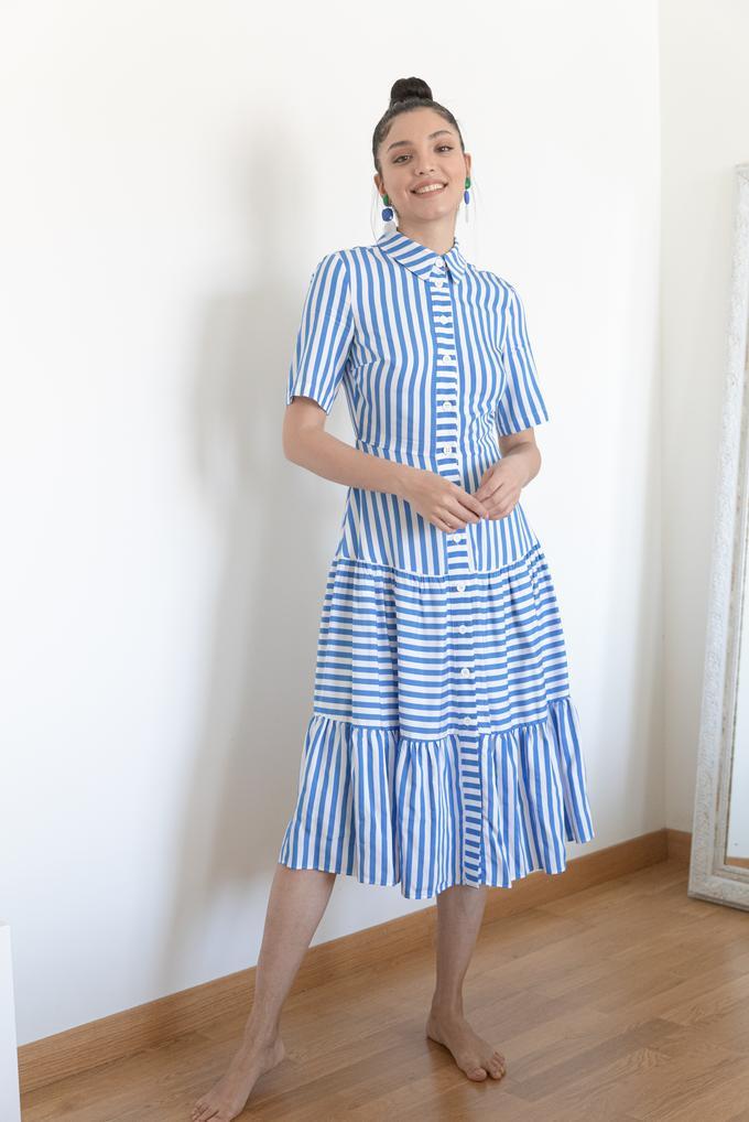 Mavi Kısa Kollu Çizgili Elbise