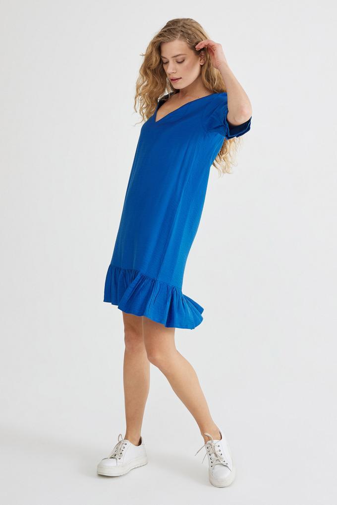 Mavi V Yaka Elbise