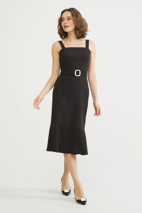 Siyah Altı Volanlı Elbise