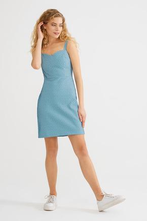 Mavi Askılı Elbise