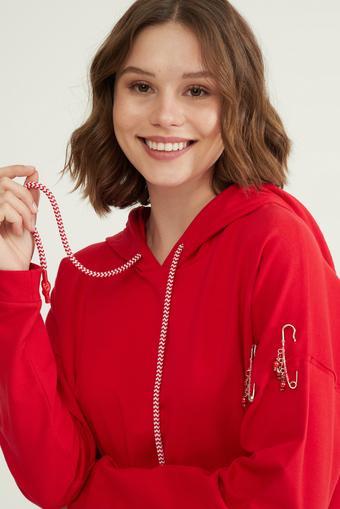 Kırmızı Kolu Detaylı Sweatshirt