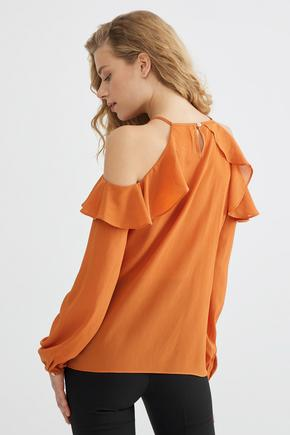 Turuncu Volanlı Bluz