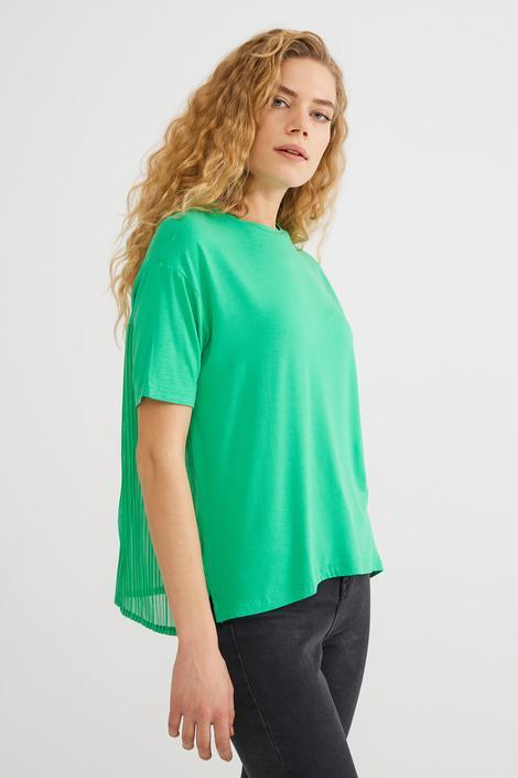 Yeşil Şifon Garnili  Tişort
