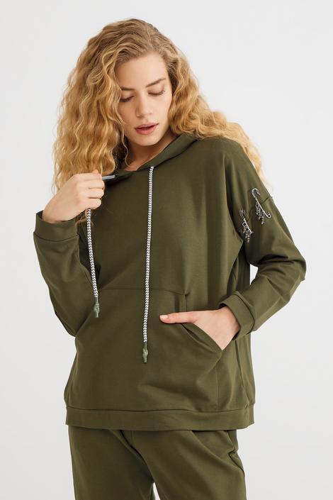 Yeşil Kolu Detaylı Sweatshirt