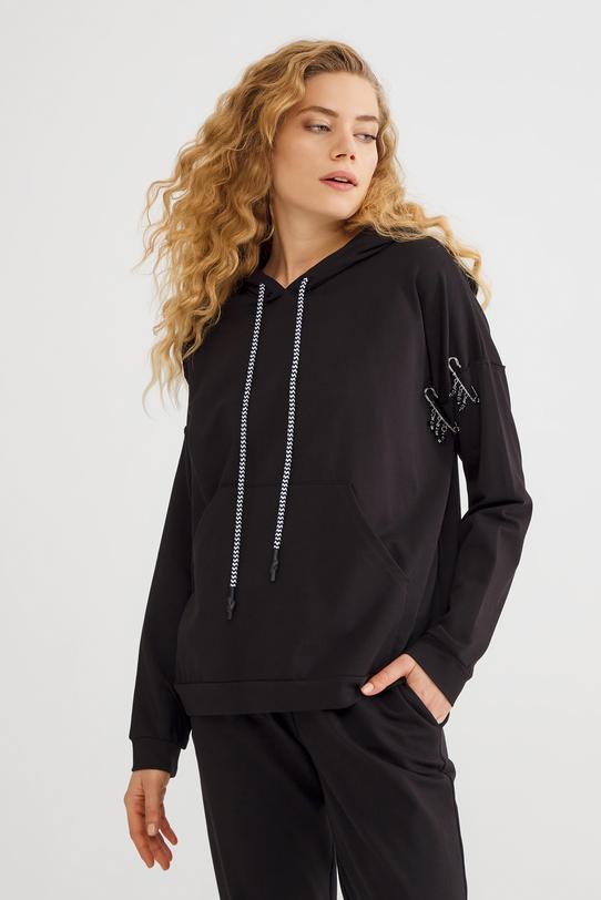 Siyah Kolu Detaylı Sweatshirt