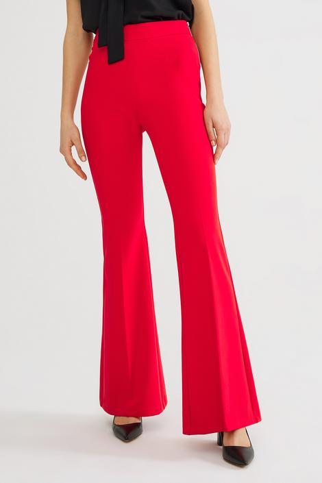 Kırmızı Yandan Fermuarlı Pantolon