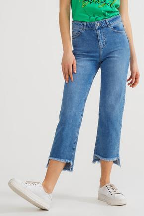 Lacivert Paça Detaylı Jean Pantolon