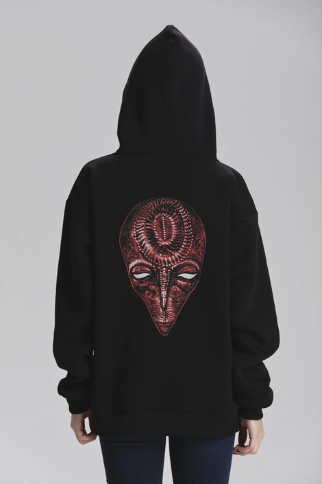 Siyah Printed Hoodie