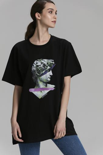 Siyah Printed T-Shirt