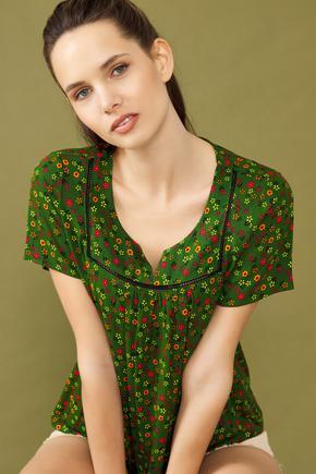 Yeşil Desenli Bluz