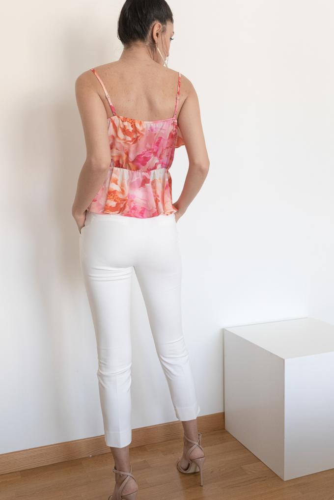 Pembe Volanlı Beli Lastikli Askılı Bluz