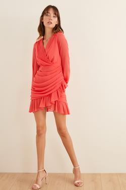 Drapeli Mini Şifon Elbise