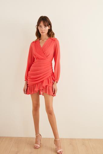 Pembe Drapeli Mini Şifon Elbise