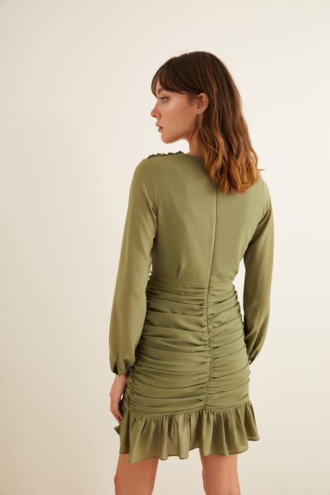 Yeşil Drapeli Mini Şifon Elbise