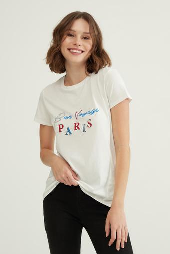 Bej Taş İşlemeli Tişört