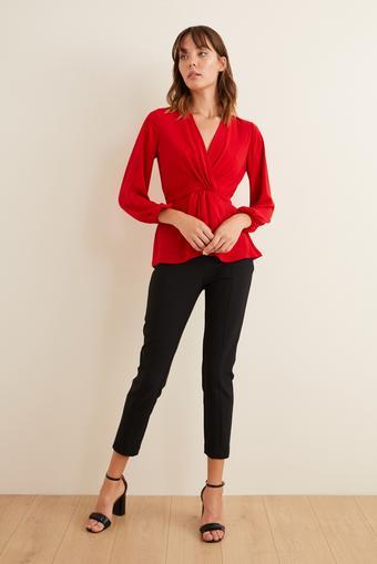 Kırmızı Kruvaze Uzun Kollu Bluz