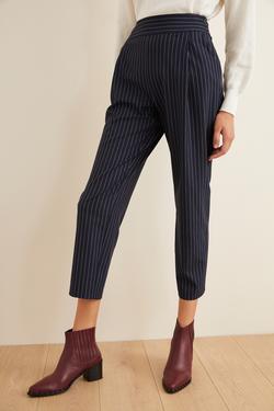 Pileli Çizgili Pantolon