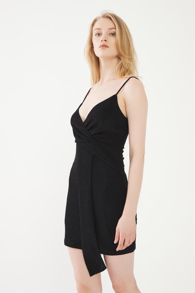 Siyah Simli Askılı Mini Elbise