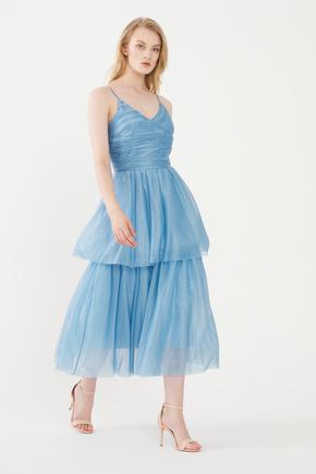 Mavi Askılı Tül Elbise