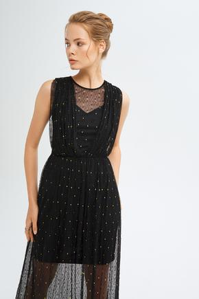 Siyah Drapeli Dantel Uzun Elbise