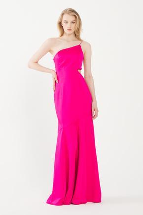 Pembe Yanı Dekolteli Saten Elbise