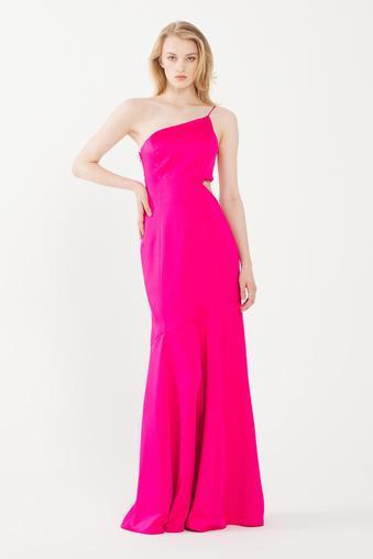 Pembe Yanı Dekolteli Uzun Elbise