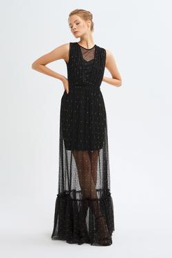 Drapeli Dantel Uzun Elbise