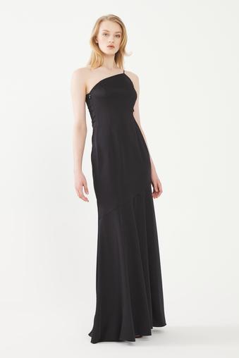 Siyah Yanı Dekolteli Uzun Elbise