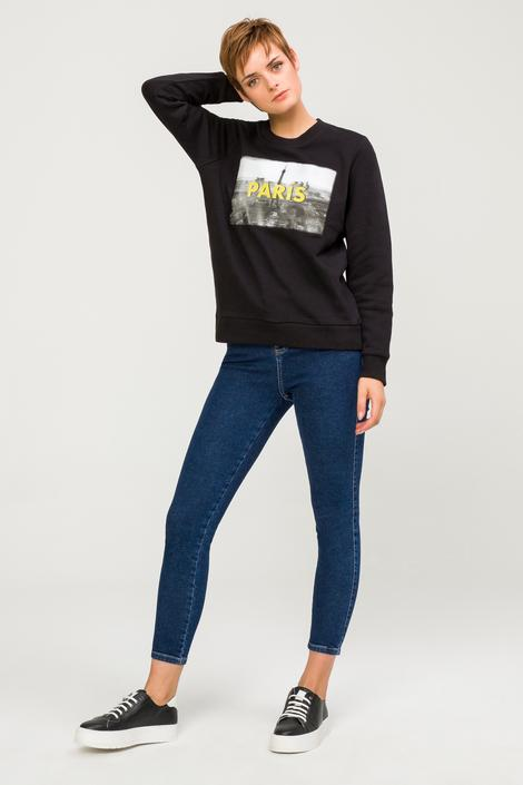 Siyah Baskılı Sweatshirt