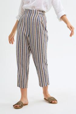 Pileli Keten Pantolon