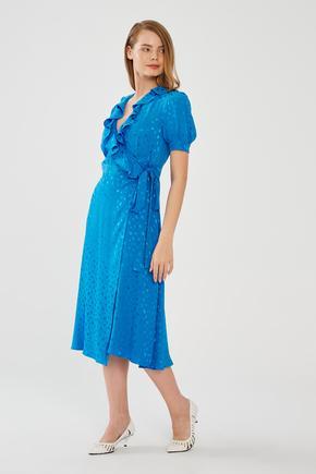Mavi Volanlı Elbise