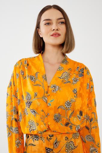 Sarı Omuz Detaylı Bluz