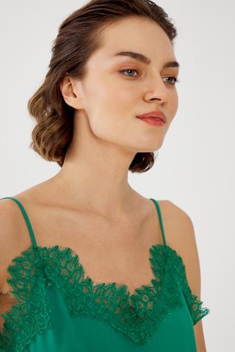 Yeşil Askılı Dantel Bluz