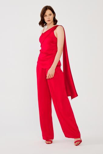 Kırmızı Pileli Bol Pantolon