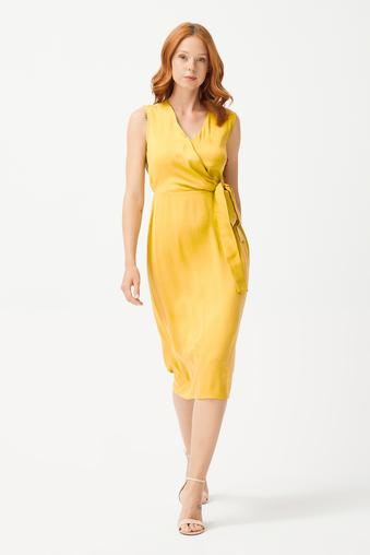 Sarı V Yaka Elbise